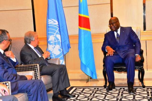 Antonio Guterres tête-à-tête avec le Chef de l'Etat, Félix Antoine Tshisekedi au Palais de la Nation photo prise par Erick Ks