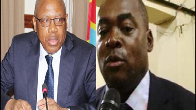 Jean Mabi, représentant-résident intérimaire de la Banque mondiale en RD Congo et Le ministre des Finances, Henry Yav Mulang