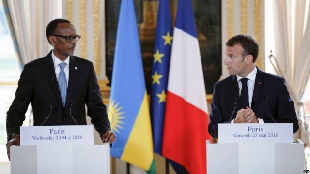 Kagame et Macron au palais de l'Elysée le 23 mai 2018