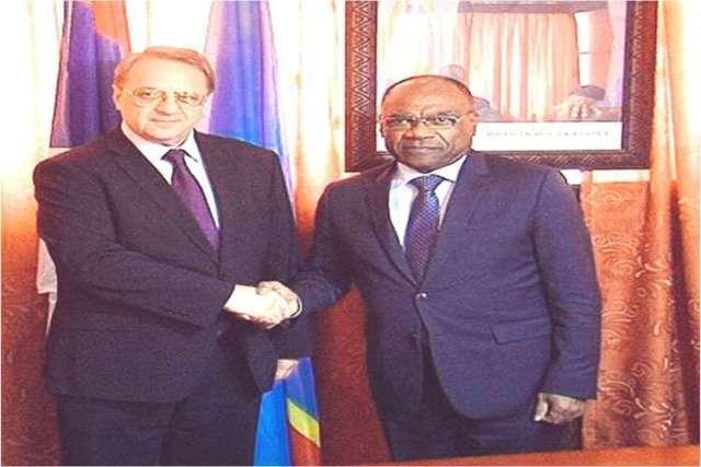 Léonard She Okitundu et le vice-ministre russe des Affaires Etrangères Mikhail Bogdanov