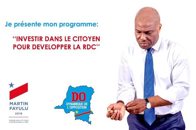 Martin Fayulu présente un programme de 190 milliards USD sur 5 ans éléction présidentielle 2018