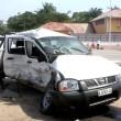 Véhicule du Senat dans lequel le Professeur Tombe a trouvé la mort lors d'un accident de circulation le long du boulevard du 30 à Kinshasa.