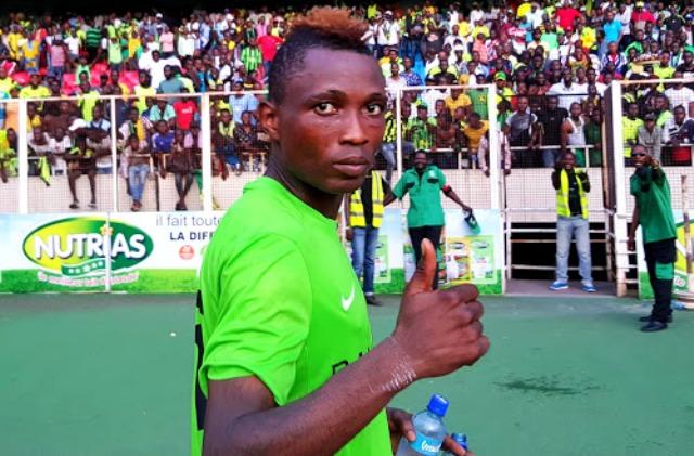 Le buteur de l'AS VClub, Taggy Etekiama au stade des Martyrs lors du match contre SC Rojolu. Radio Okapi/Ph. Caniche Mukongo